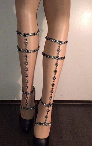 Black ceaser with shoe peice, garter chain, body jewelry, leg chain, leg accessory, lingerie, jewelry