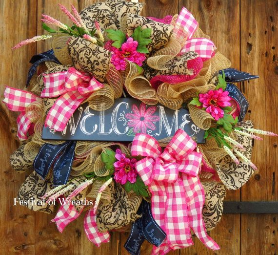 Spring Wreath Summer Wreath Welcome Wreath by FestivalofWreaths