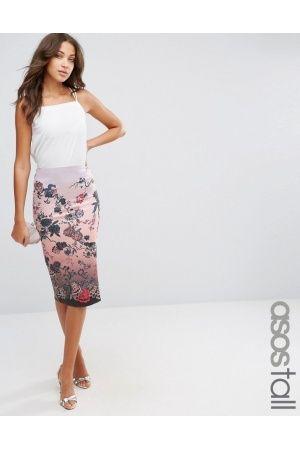 Mujer Faldas estampadas - ASOS Pencil Skirt in Scuba Floral Print