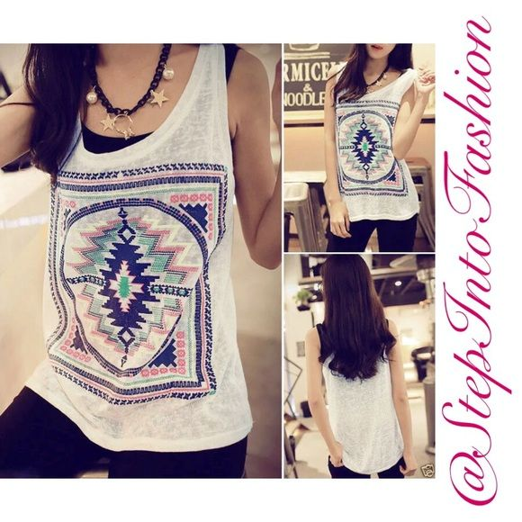 ONE DAY SALEAztec print loose tank top Aztec print loose tank top Super cute loose tank top perfect for summer !  Bust: 31. 2 inches  Length: 23.4 inches   ️BRAND NEW❗️ Directly from vendor without tag    ☑️Available S☑️  Happy shopping  Tops Tank Tops