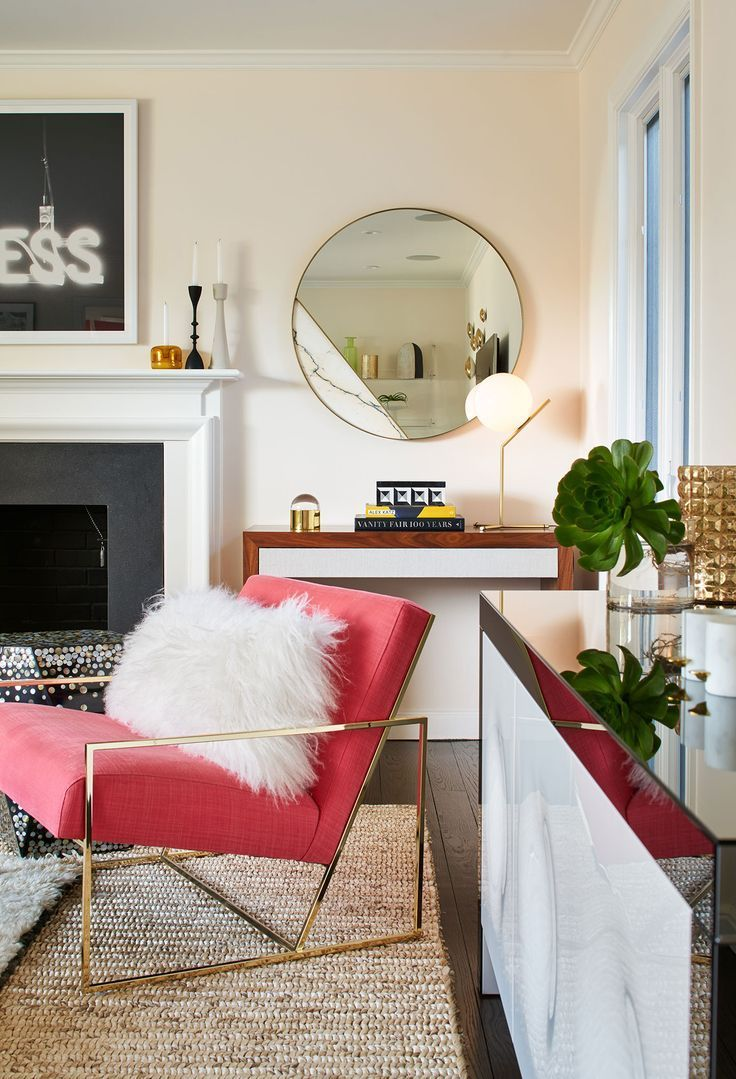 """A """"Calmly Awesome"""" Glam Living Room   Rue - pink chair with gold glam chair and large round mirror"""