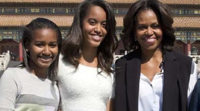 First Daughters and their Mom, First Lady of the United States, Michelle Obama.                                                                                                                                                                                 More