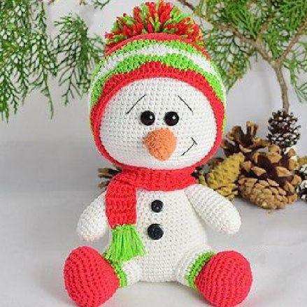 Вязаный снеговик крючком схема