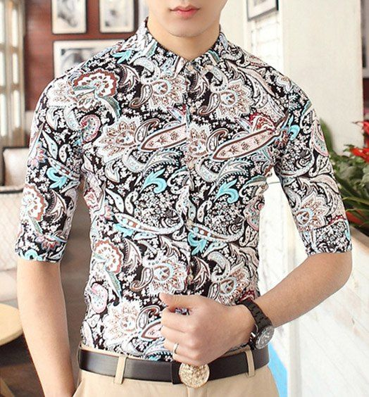 $13.36 Casual Style Shirt Collar Multi-element Abstract Print Half Sleeves Polyester Shirt For Men