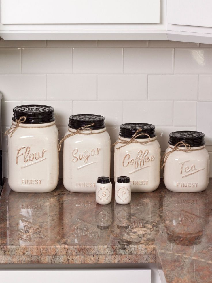 Off White Canister Mason Jar Set Of 4