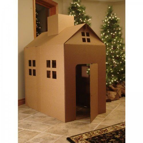 This cardboard house was so easy to make. It only took one cardboard box and some tape. So much fun for the kids!