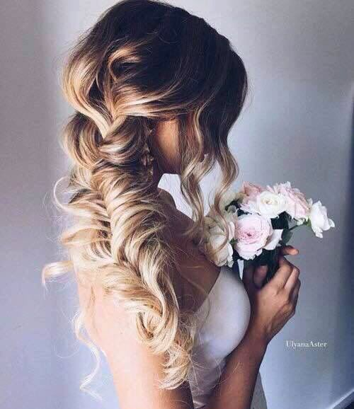 Bride hair, 'Id like something messy-ish like this, curls and coming down the side/over the shoulder is perfect