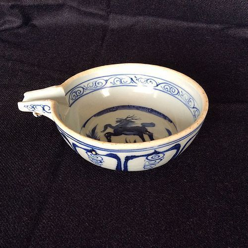 Blue and White Spouted Bowl Yuan Dynasty