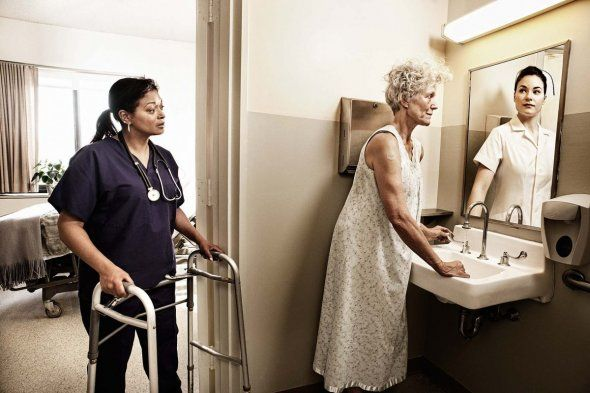 """""""Reflections"""": A photo series by Tom Hussey, where he portrays the elderly as they reflect on their younger selves in the mirror."""