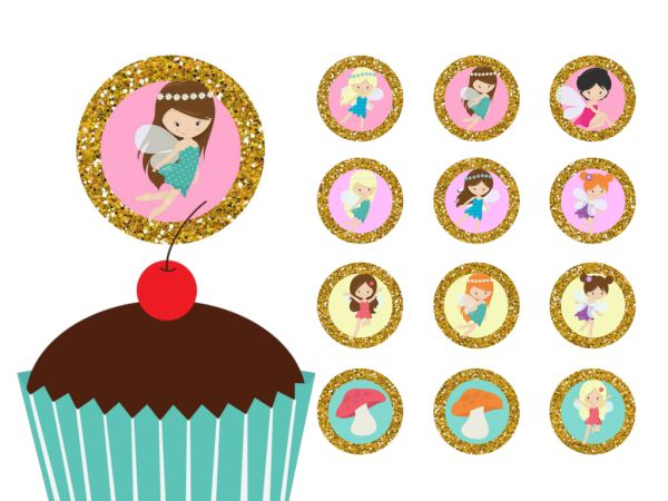 Fairies, Fairy Cupcake Toppers Printable, Download, Cupcake, Baby Shower Toppers, Birthday Toppers, 2 inch Circle Toppers, Labels