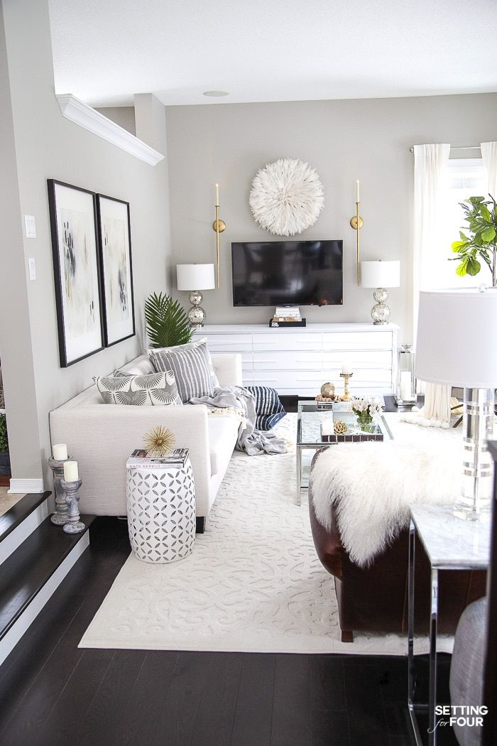 Living Room Makeover New Tv Stand Wall Art Rug Pillows