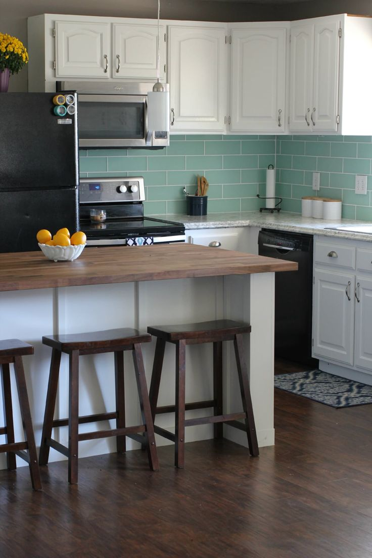 stained kitchen cabinets before and after
