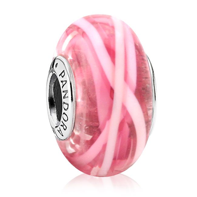 342913-PANDORA Pink Ribbon of Hope Murano Glass *PANDORA Shop in Shop Exclusive*