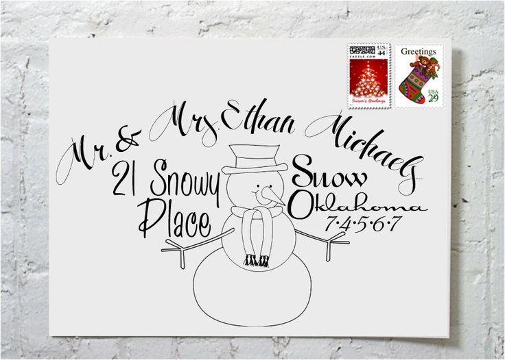 Christmas Card Snowman Calligraphy Envelope Addressing via Etsy.