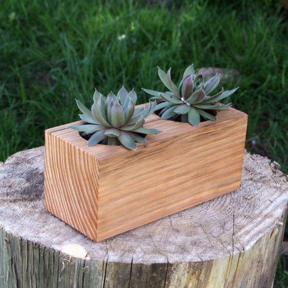 Succulent planter wood pot cubist style reclaimed for Wooden cactus planter