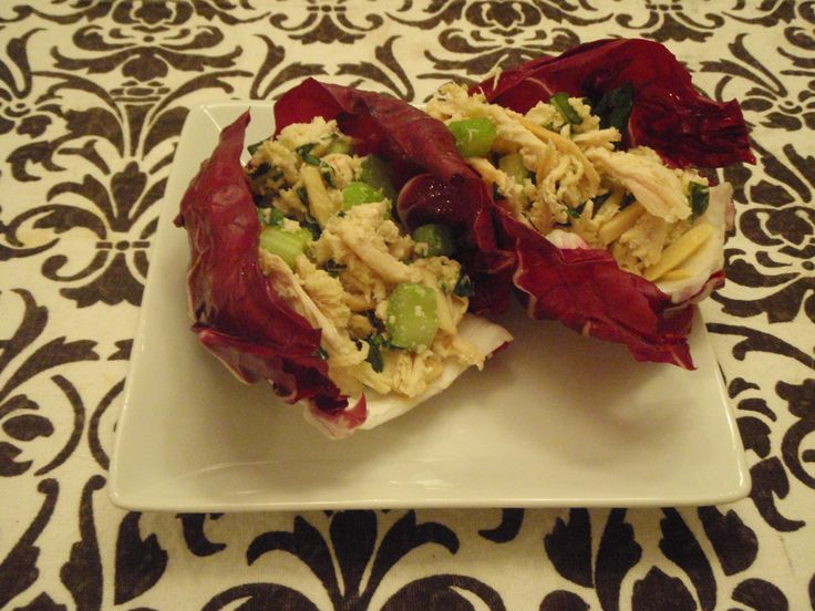 Lemon-Basil Chicken Salad in Radicchio Wraps | Chicken Salads, Basil ...