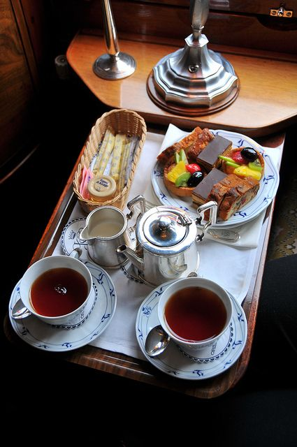 4:00 Tea...The classic British tradition of afternoon tea on board the Venice-Simplon-Orient-Express.