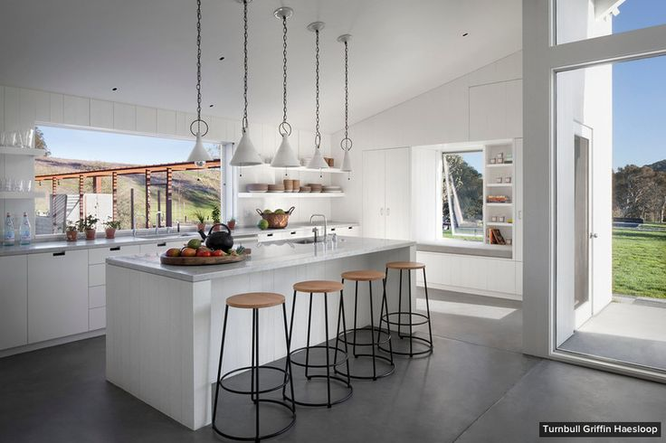 Antiques and Modern Pieces Mix in The Coolest London Home // marble kitchen island, bar stools, white pendant lights, large windows: Modern Farmhouse, Turnbul Griffins, Sonoma County, Window, Griffins Haesloop, County Resident, Farmhouse Kitchens, Hupomon Ranch, Design
