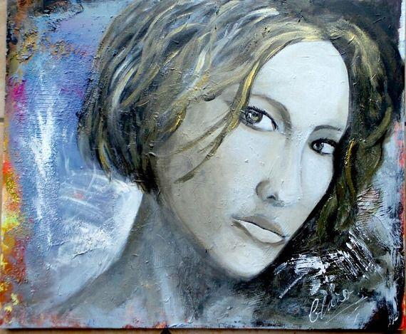 peinture style moderne, jeune femme, technique mixte, taupe, dorée,