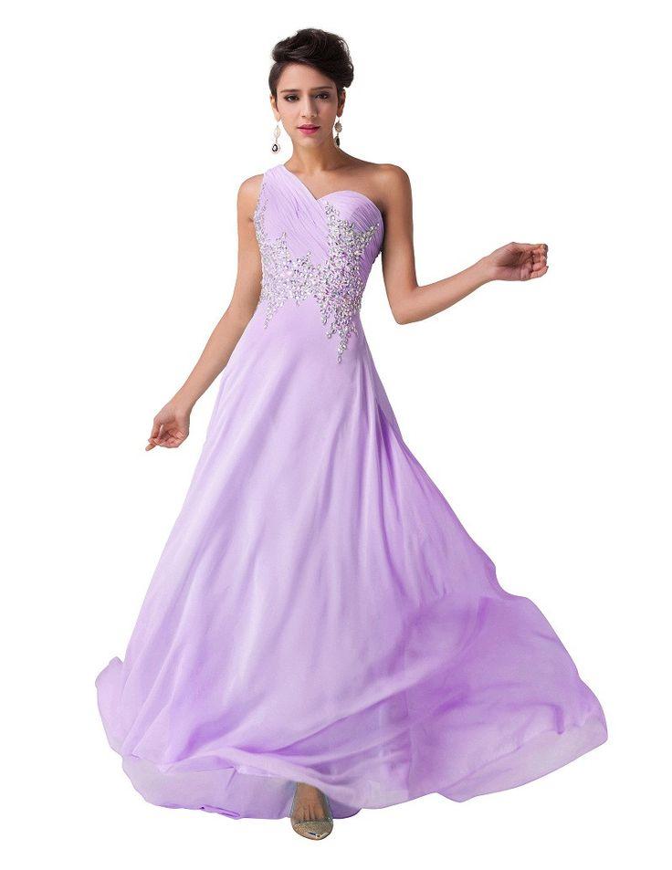 Elegant One Shoulder Bridesmaid Dresses 2017 Grace Karin Beaded Chiffon Mermaid Gowns Navy Blue Formal Dress Bridesmaids Dresses