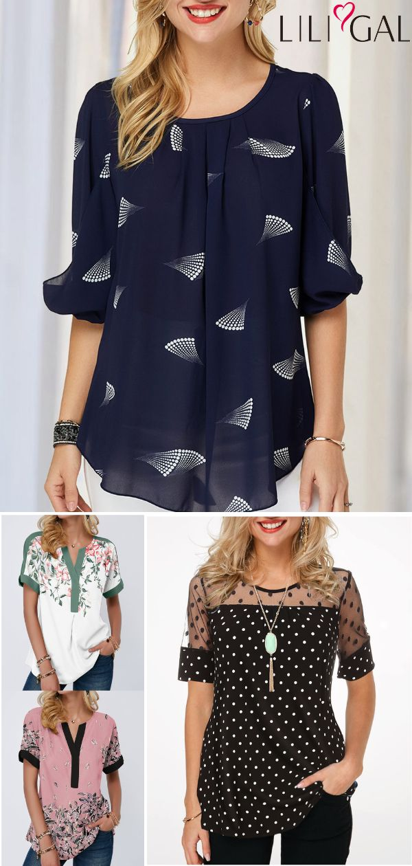 cute spring summer tops, navy blue chiffon blouse, floral print t shirt, black polka dot print lace t shirt, short sleeve summer blouse, free shipping worldwide and easy returns.