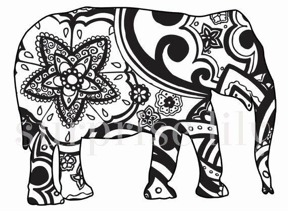 Henna Animal Coloring Pages Awesome Items Similar To Animal And Pets Floral Colo Animal Aw In 2020 Elephant Coloring Page Henna Animals Animal Coloring Pages