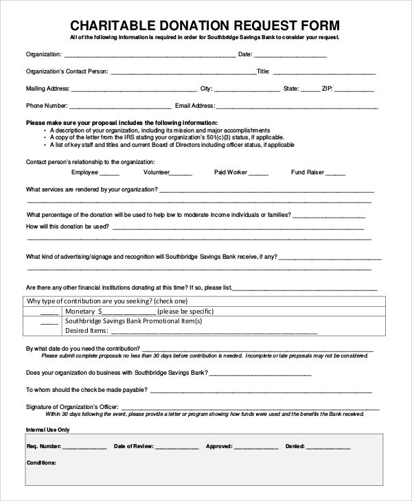 Free Donation Request Form Template Donation Request Form
