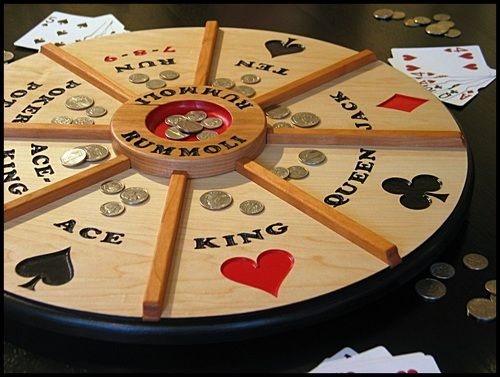 Beautiful wooden Rummoli game board will be the life of your next party! Mounted on a Lazy Susan to turn for each winner. Order your next family heirloom today!