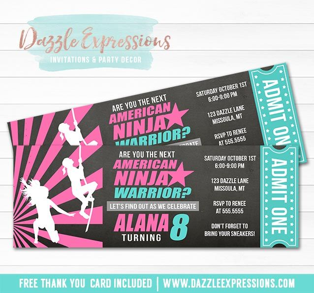 printable girl inspired american ninja warrior chalkboard ticket birthday invitation kids obstacle course party crossfit exercise workout diy