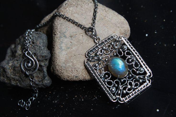 Labradorite and Silver Necklace by designbyeSKay on Etsy