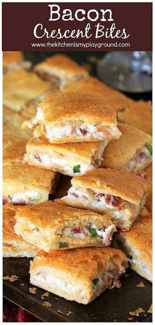 Bacon Crescent Bites ~ Loaded with creamy bacon filling sandwiched between two layers of flaky crescent roll crust. Make these easy bites for parties,...