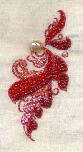 Red bead embroidery - downloadable pattern