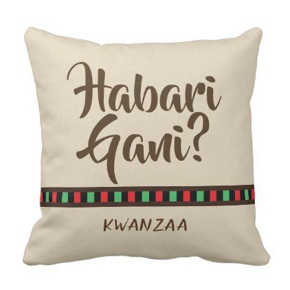 Habari Gani - Kwanzaa items | Throw Pillow - home gifts ideas decor special unique custom individual customized individualized