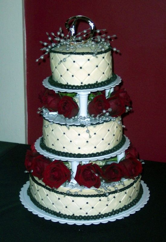 Wedding Anniversary Vanilla Buttercream With Diamond Impression Roses And Pretty Pearl Crystal Garland Accents