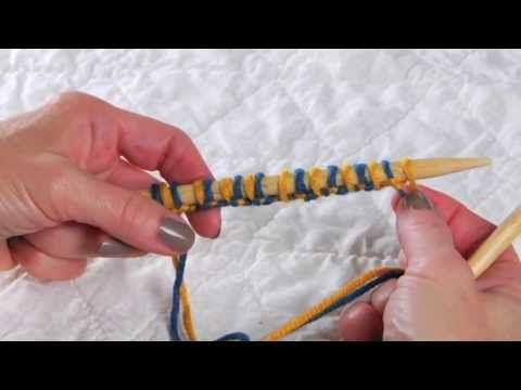 Double Knitting - Alternating Two Color Invisible Cast-On for Double Knitting and Brioche Stitch - YouTube