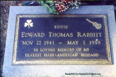 "Eddie Rabbitt (1941 - 1998) Country music singer, ""I Love a Rainy Night"", ""Drivin' My Life Away"""