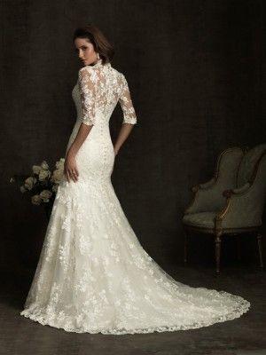White Trumpet/Sjöjungfru V-Ringad Kapell Tåg Halv Ärm Applique Lace Wedding Dresses för 7992kr