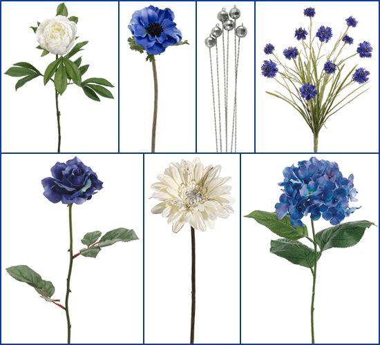 Snow White Peony, Blue Anemone, Silver Glass Bouquet Jewel Picks, Blue Cornflower Bush, Blue Hydrangea, Cream Gerbera Daisy with Silver Glitter, Blue Premium Open Rose.