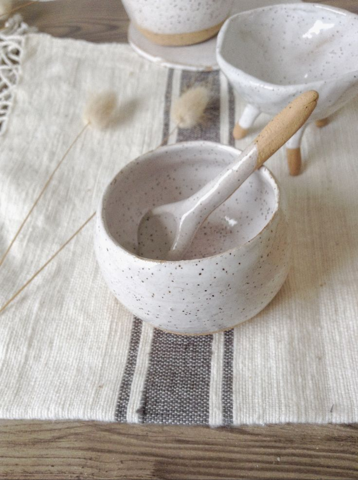 Ceramic bowl and spoon Makerie Ceramics Auckland, New Zealand Www.makerieceramics.com
