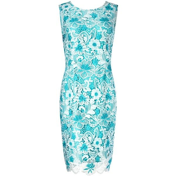 Precis Petite Cotton Lace Shift Dress, Multi Blue (155 AUD) ❤ liked on Polyvore featuring dresses, haljine, petite, blue maxi dress, long-sleeve mini dress, lace dress, lace shift dress and lace sleeve dress