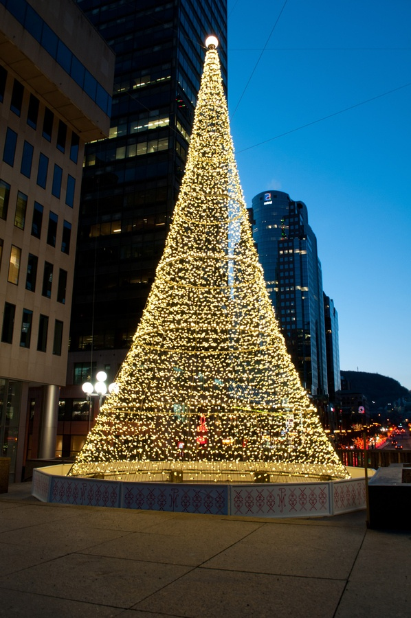 Outdoor contemporary city Christmas tree at sunset in Montreal, Canada