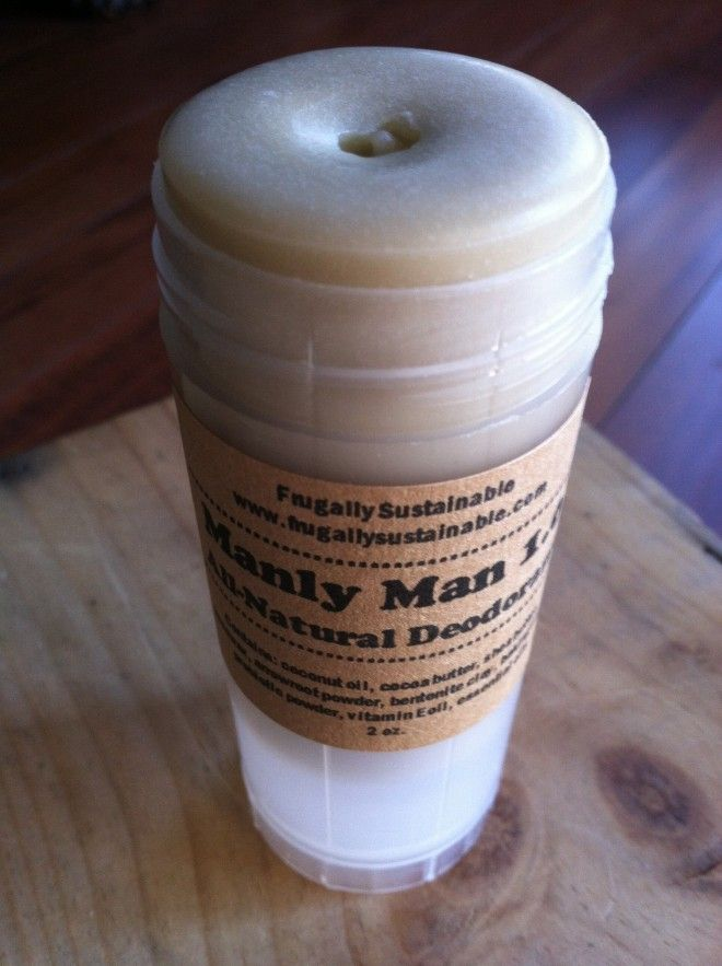 How to Make a Homemade, All Natural Deodorant for Men - I don't see how this is too much different than most of the other recipes except for the addition of clay (for moisture control I would presume) & man-specific EO's for smell. But it's a good recipe nonetheless. This stuff works better on us than anything storebought.