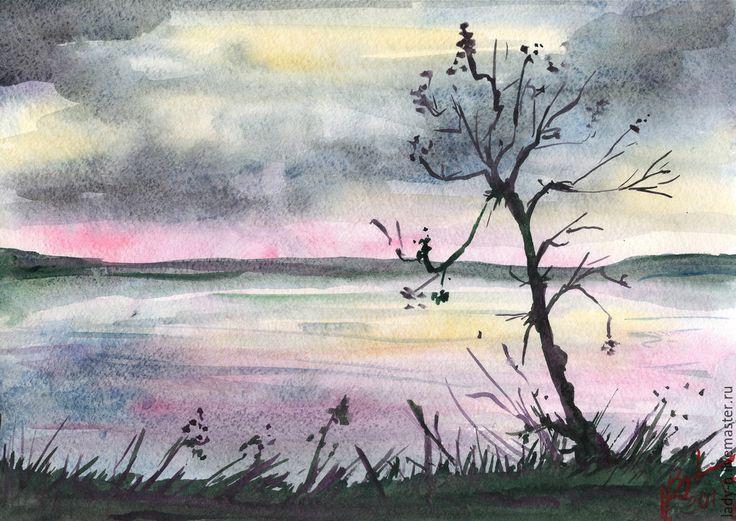 """Купить """"Розовый рассвет"""", пейзаж, акварель - разноцветный, розовый, рассвет, дерево, нежность, ветви, желтый"""