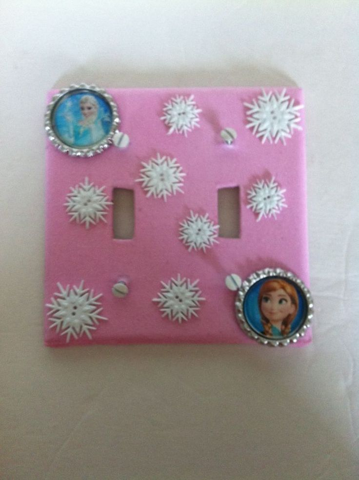 Frozen Inspired Anna Elsa Double Light Switch Plate Cover Pink w Snow Flakes #Handcrafted