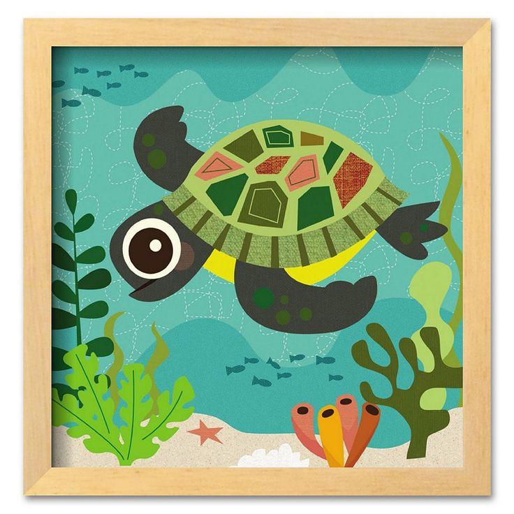 """Art.com """"Ocean Friends, Terrance"""" Brown Framed Art Print by Jenn Ski, Multicolor"""