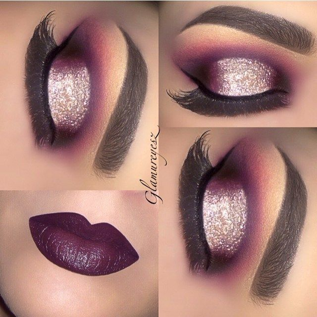 ✨Vampy fall look✨inspired by a look I did a few months ago but this time I added more purple mixed with red eyeshadow on the inner and outer corner. I used eyeshadow in 'Parma' and 'Bollywood' on the inner and outer corner @rxycosmetics gel eyeliner pencil in 'blackcaviar' @rxycosmetics glitter is 'jawbreaker' @eyekandycosmetics lipstick is 'brilliant Bordeaux' @revlon @opvlashes brushes used ❤️❤️