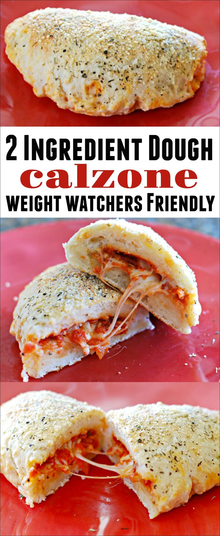 This 2 Ingredient Dough Calzone is easy to make and super filling. If you are following the Weight Watchers plan, it is 8 Freestyle points for a large, cheesy calzone. This Weight Watchers recipe use 2 Ingredient Dough. You will not feel deprived at all!