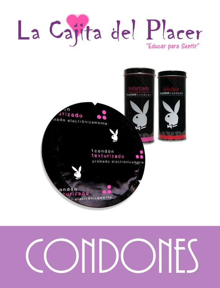 Condones marca PLAYBOY, el conejito quiere hacerte feliz con estos preservativos texturizados y ultrasensibles.  Precio Cajita: $25