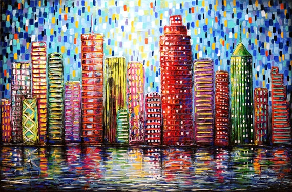 Textured Urban City Buildings Painting Abstract By