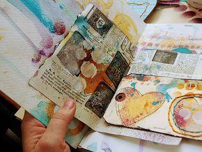 links to get started on art journaling. pix: art journal by Dina Wakley #art_journaling #tutorials